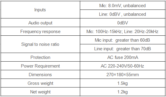 dynamic microphone specification